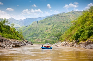 Rafting on the Bhote Koshi  in Nepal. The river has class 4-5 rapids.