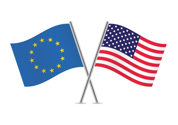 European Union and American flags.
