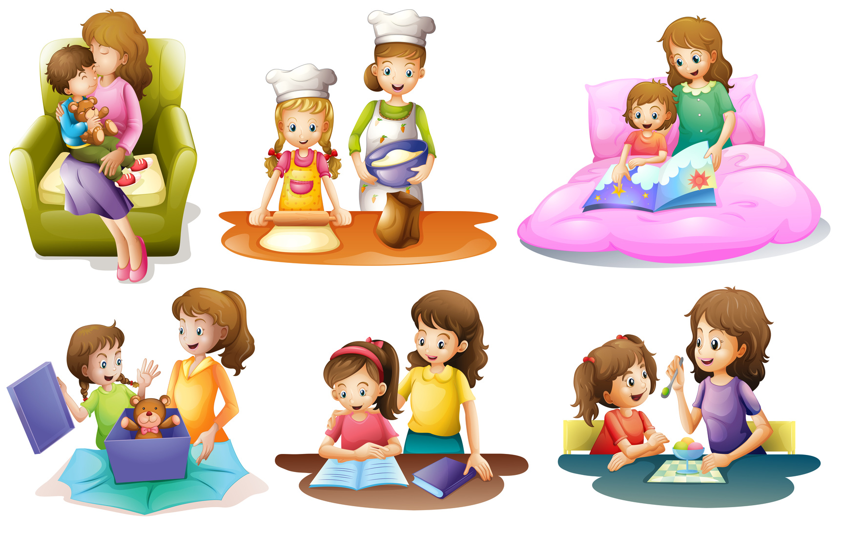 Different activities of a mother and a child