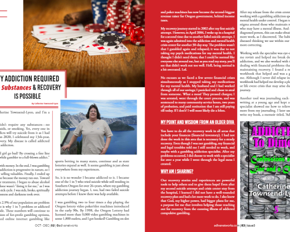 Bet Free Recovery Now-Holiday Series. Story #8, My Voice & Story of Gambling Addiction & Recovery as Featured In #ADIVAMagazine Fall/Winter 2020…
